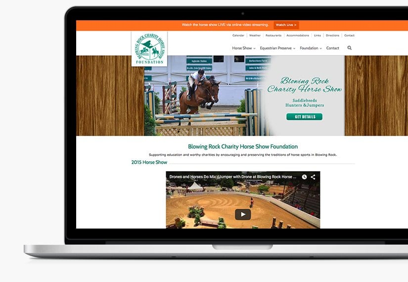 foundation and horse show website by Garetii Media